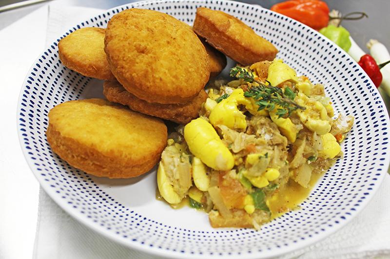 Ackee & Salt Fish with Fried Dumplings