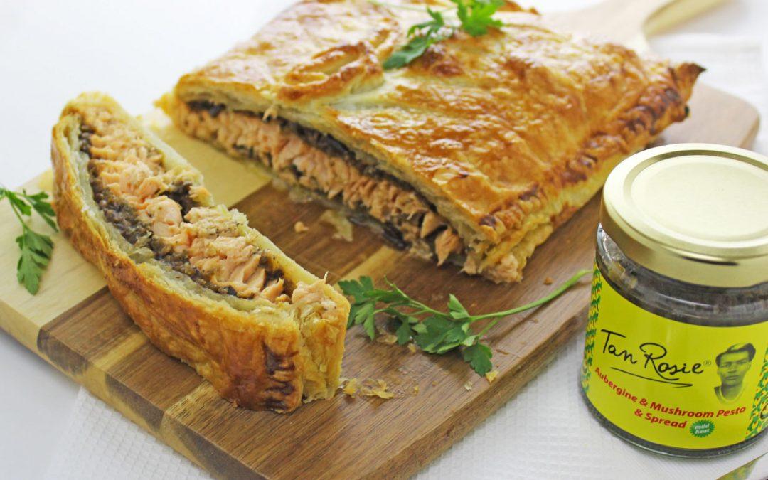 Aubergine & Mushroom  Salmon En Croute