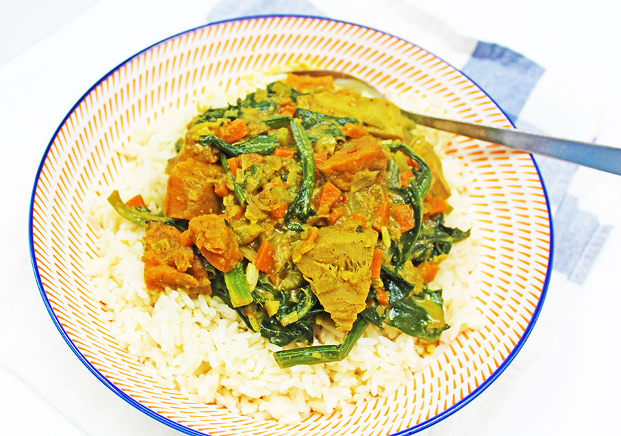 Jackfruit, Sweet Potato & Spinach Curry (Vegan)